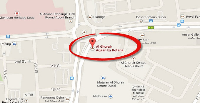 Location Map of Al Ghurair Arjaan by Rotana Dubai