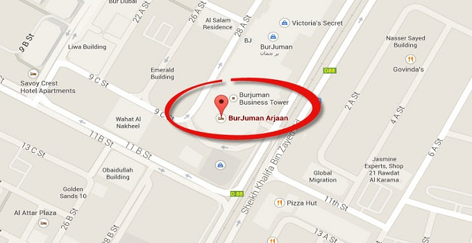 Location Map of Burjuman Arjaan by Rotana Dubai
