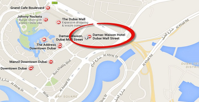 Location Map of DAMAC Maison Dubai Mall Street Dubai