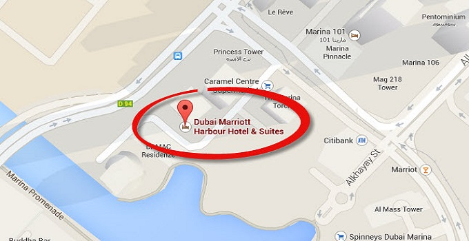Location Map of Dubai Marriott Harbour Hotel And Suites Dubai