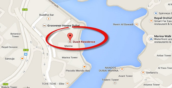 Location Map of Dusit Residence Dubai Marina Dubai