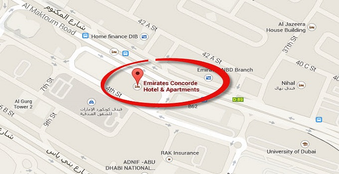 Location Map of Emirates Concorde Hotel & Apartments Dubai