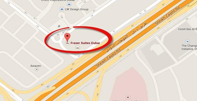Location Map Of Fraser Suites Dubai