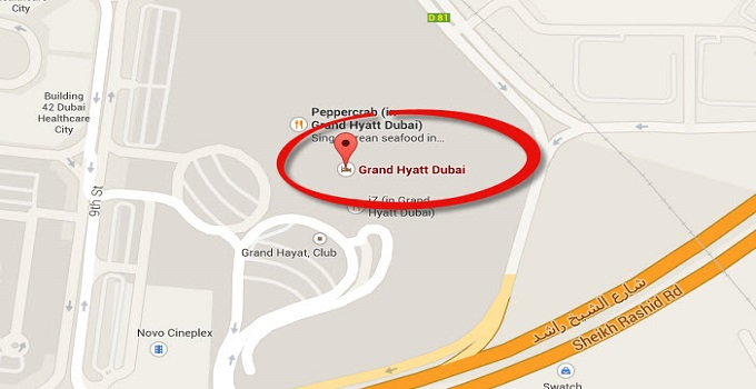 Location Map of Grand Hyatt Dubai