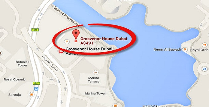 Location Map Of Grosvenor House Dubai