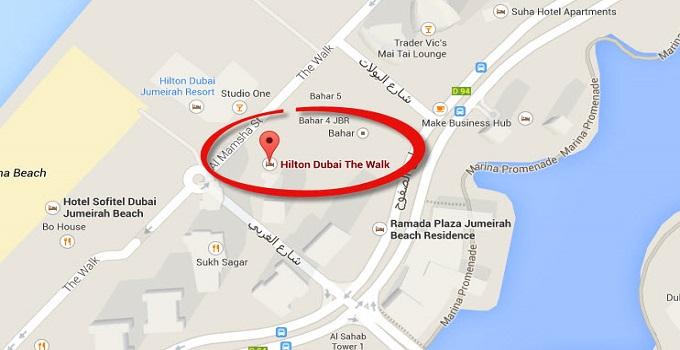 Location Map Of Hilton Dubai The Walk Jumeirah Resort