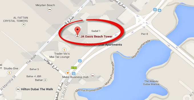 Location Map of JA Oasis Beach Tower Apartments Dubai