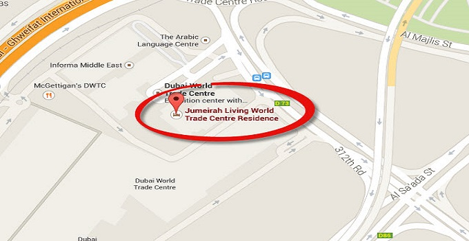 Location Map of Jumeirah Living World Trade Centre Residence Dubai