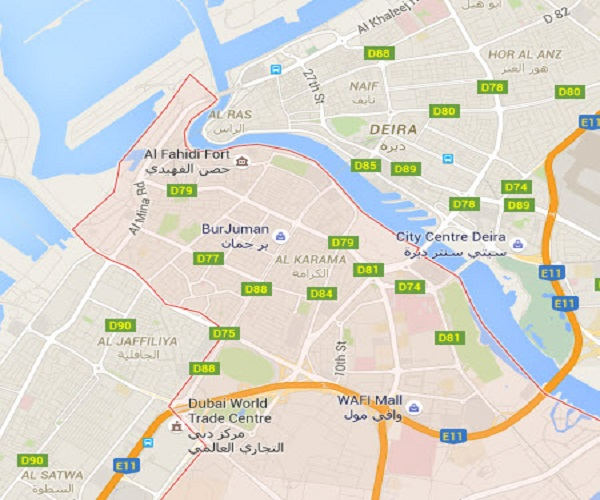 Location Map of Bur Dubai