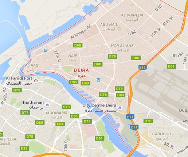 Location Map of Deira Dubai