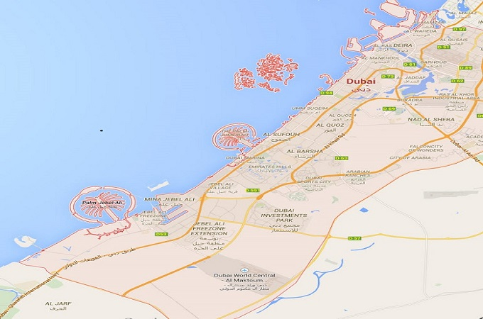 Location Map of Dubai, United Arab Emirates.
