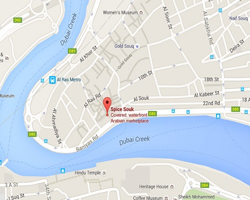 Location Map of Gold Souk around Dubai Creek Dubai