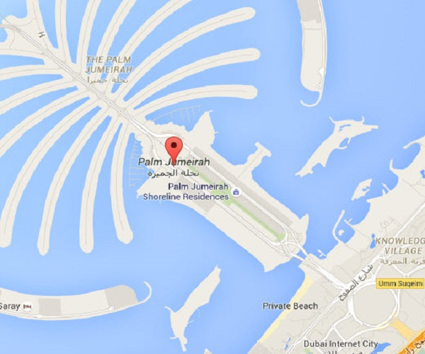 Location Map of Palm Jumeirah Dubai