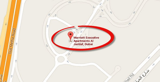 Location Map of Marriott Executive Apartments Dubai Al Jaddaf Dubai