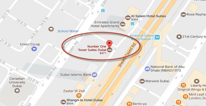 Location Map of Number One Tower Suites Dubai
