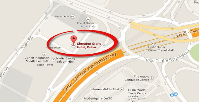 Location Map of Sheraton Grand Hotel Dubai