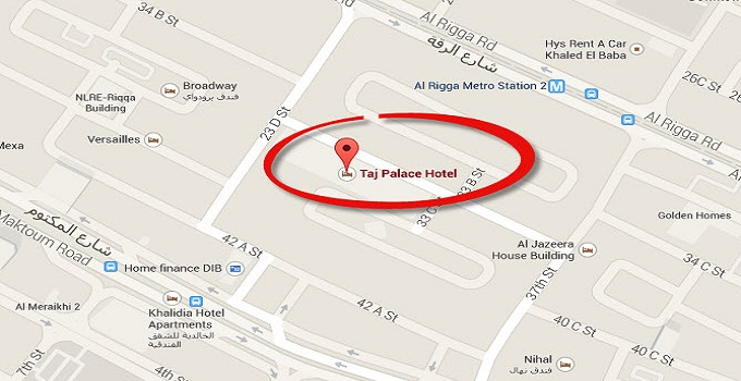 Location Map of Jood Palace Hotel Dubai (Formerly Taj Palace Hotel Dubai)